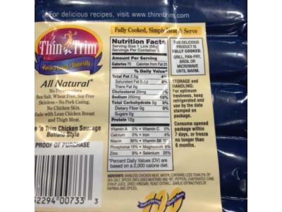 美国召回标签错误的鸡肉香肠产品