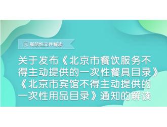 规范性文件图解——关于印发《北京市餐饮服务不得主动 提供的一次性餐具目录》《北京市宾馆不得 主动提供的一次性用品目录》的解读