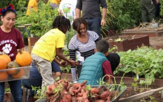 米歇尔.奥巴马率领学生菜园采摘  倡导营养健康