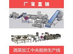 厂家供应中央厨房净菜切洗配套粗加工生产线工艺图
