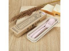 小麦秸秆餐具三件套 环保无毒便携餐具勺叉筷礼品旅行餐具