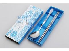 不锈钢餐具筷勺 创意富贵花餐具 青花瓷餐具套装 节日促销礼品