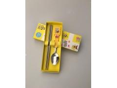 便携餐具可爱卡通塑料柄儿童防烫不锈钢筷子勺子礼品