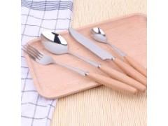 榉木木柄刀叉勺筷餐具 便携不锈钢餐具 家居百货礼品赠品