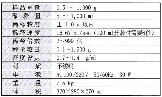 分装仪的技术规格