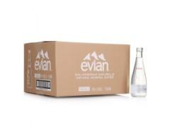 进口矿泉水代理、法国依云水批发、330ml*20(玻璃瓶)