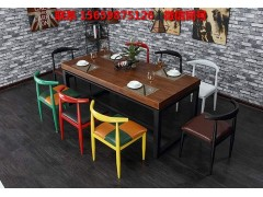 欧美工业风格铁艺实木餐桌椅,咖啡厅奶茶店高脚桌椅