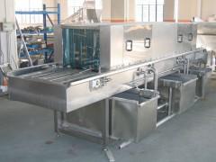 大型塑料盘清洗机|6米食品筐清洗机