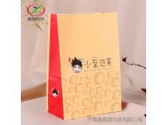 定做一次性食品包装袋四方底防油牛皮纸面包泡芙打包纸袋