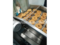 自动甜甜圈油炸机 汉堡面包自动翻个油炸流水线 冷冻面团油炸机